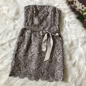 Adrianna Papell Evening Strapless Grey Lace Dress